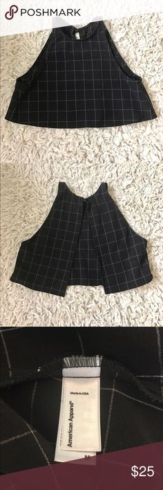 American Apparel Lulu Crop top Black & White Grid Breezy crop top featuring a fitted neckline and open slit along the back. 100% Rayon construction. Open back with single top connecting button. Never worn without tags. <3 American Apparel Tops Crop Tops