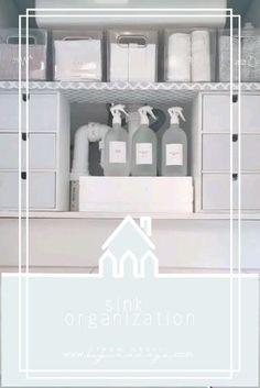 Organising under the kitchen sink - From Great Beginnings Kitchen Sink Organization, Sink Organizer, Bathroom Organisation, Organizing Bathroom Closet, Toiletry Organization, House Organization Ideas, Kitchen Sink Decor, Bathroom Counter Decor, Hair Product Organization