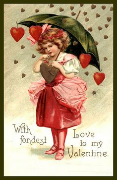 Hearts:  Vintage #Valentine with raining #hearts.