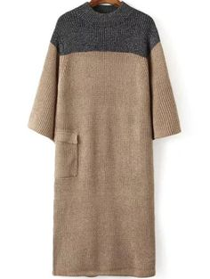 Slit Back Khaki Sweater Dress