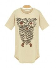 Longline T-shirt with Oversized Owl Print