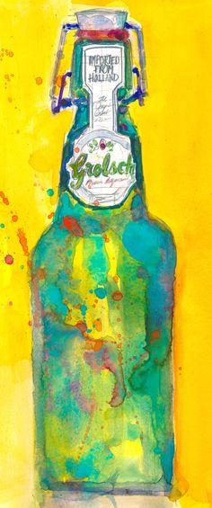 Grolsch Premium Lager Beer Art Print from Original by dfrdesign