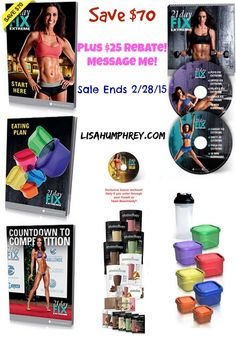"""$25 Gift Card on Challenge Pack. Offer is good from Thursday, February 5 through Saturday February 28, 2015. Must send me a message on Facebook for details http://www.facebook.com/lisahumphrey100 Includes everything you see here: complete program, containers, menu plan, workouts, XL Shaker Cup, """"Countdown to Competition"""" Bonus Meal Plan, full 30 meals of Shakeology, 30 day online Club Membership, Bonus Workout and Super Saver Shipping."""