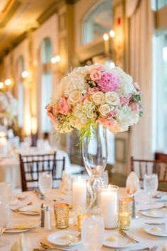 Gorgeous pink and white centerpiece