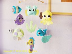 Under the Sea Mobile - Baby Mobile - Fish Mobile - Nursery Mobile - Ocean Mobile - Crab, Sea Horse, Turtle, Whale (you can Pick your colors)