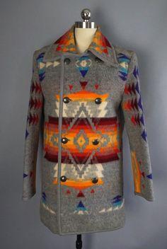 1940s NAVAJO WESTERN blanket COAT w/ sterling by ritualvintage
