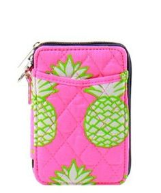 Quilted Wristlet Wallet- Pineapple