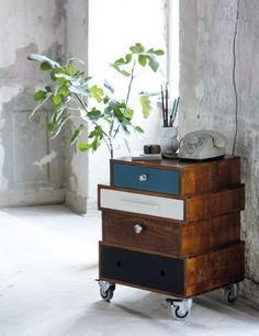side table made from mismatched drawers £425  ^ooooh! I love this! Wonder if I could recreate this look myself :D