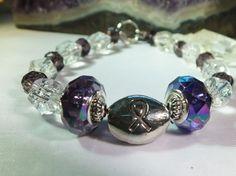 Dark Purple and Crystal Glass Bracelet by BlingItOutLoudCharms