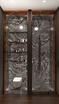 Minimalist chick bathroom by Arseny Kerzman 2014 dark marble, copper breaths luxury
