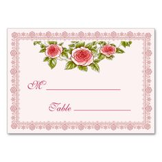 """Vintage Rose Frame - Wedding Table Place Card design. Beside the fields on the right hand side, you can also modify the text content, colors and styles by clicking """"Customize it"""" button. If need any help, please contact me. Click here to see matching products."""
