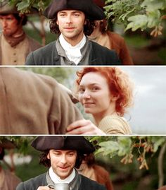 Poldark. The wedding scene... Ross and Demelza have eyes for each other.