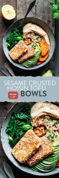 Sesame Crusted Hoisin Tofu Buddha Bowls - Freakin' awesome buddha bowls with sesame crusted hoisin tofu, roasted sweet potatoes, quinoa, avocado, hummus and spinach. Comforting, healthy, and filling