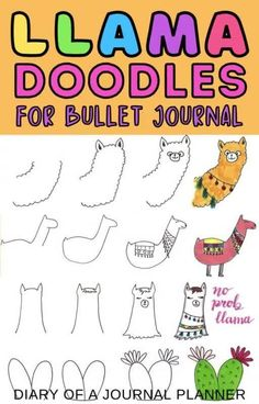 Learn how to draw 9 adorable Llama inspired doodles for your next bullet journal spread! #llama #bulletjournaldoodles #cutedoodles Simple Doodles, Cute Doodles, Bullet Journal Spread, Bullet Journals, Doodle Drawings, Doodle Art, Alpaca Drawing, Cactus Doodle, Bullet Journal Printables
