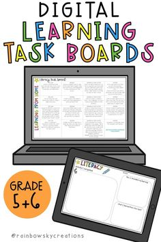 Allow your students to have fun learning from home with these Digital Learning Task Boards for Grade 5 and Grade 6. Four boards are included: Literacy, Mathematics, Inquiry and an editable 'Choose your own Adventure' board. 48 educational tasks provided, ideal for distance learning. #rainbowskycreations