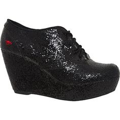 Black Glittered Wedge Ankle Boots