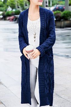 Stylish Collarless Long Sleeve Solid Color Pocket Design Women's Long Cardigan