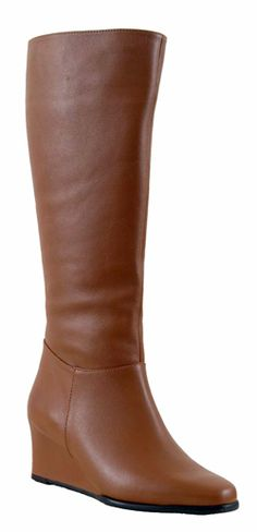 Ros Hommerson Women's Summer Extra Wide Calf Wedge Boot (Tan Leather)