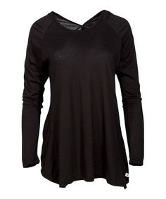 Loving this Black Surplice-Back Scoop Neck Tunic on #zulily! #zulilyfinds