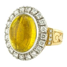 Primavera 11.68 Carat Yellow Tourmaline Cabochon Diamond Gold Ring | From a unique collection of vintage cocktail rings at https://www.1stdibs.com/jewelry/rings/cocktail-rings/