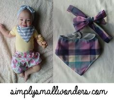 Free downloadable pdf pattern and full tutorial for sewing your own baby bandana bib in three sizes! From Simply Small Wonders
