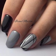 Here comes one of the easiest nail art design ideas for beginners. There are so many creative ways to decorate your nails, and you can make them look differently every… Read more › Trendy Nail Art, Cute Nail Art, Beautiful Nail Art, Cute Nails, Nail Manicure, Pedicure, Nail Polish, Gray Nails, Fancy Nails