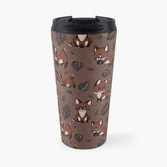"""""""Baby Foxes chasing Leaves - Cute pattern & design"""" Travel Mug by MonoMano Cute Pattern, Pattern Design, Baby Foxes, Notebooks, Travel Mug, Cat Lovers, Geek Stuff, Leaves, Mugs"""