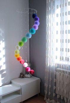 Huge Rainbow Mobile Large Mobile Pom Pom Rainbow Decor room decor Rainbow Centerpiece for Garden or Living Room, Floating Mobile with Crystals Rainbow Centerpiece, Rainbow Decorations, Pom Pom Decorations, Room Decorations, Tulle Centerpiece, Homemade Wall Decorations, Centerpiece Ideas, Diy Bebe, Pom Pom Crafts