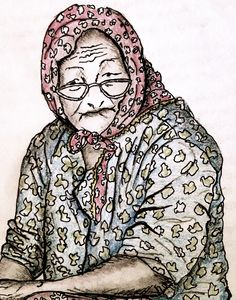 Pen and Ink sketch of a Turkish Lady at the market. Black Ink with coloured pencil overlay. Sketch by Roving Jay
