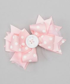 This Baby Pink & Cream Polka Dot Button Bow Clip by Payton Grace Bows is perfect! #zulilyfinds
