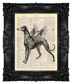 Winged Greyhound - ORIGINAL ARTWORK - Dictionary Art Print Vintage Upcycled Antique Book Page no.14 Mythology Books, Fine Art Posters, Dictionary Art, Free Prints, Upcycled Vintage, Antique Books, Book Pages, Art Reproductions, Original Artwork