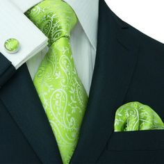 Lime Green Paisley Wedding Tie Set JPM1897H
