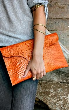Love this croc clutch! Great color and size! Love this croc clutch! Great color and size! Leather Clutch Bags, Leather Purses, Leather Handbags, Red Clutch, Leather Totes, Mode Orange, Orange Clutches, Leather Bag Pattern, Best Bags
