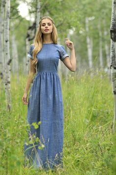 Jeans dresses: How to show style with a jeans dress - Denim dress long dress maxi dress denim - Modest Dresses, Modest Outfits, Modest Fashion, Pretty Dresses, Beautiful Dresses, Cute Outfits, Maxi Dresses, Modest Clothing, Maxi Skirts
