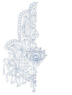 Hand of Mariam Fatima  Hand Khamsa Hamesh sketch illustration miss chatz artwork pen blue fish hand palm eye flower pattern heart design tshirt photoshop sketch half pattern