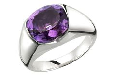 Get sleek design drenched in color! 4 carat, oval shaped, amethyst gemstone, stealthily set in crisp sterling silver, this striking yet surprisingly affordable ring works wonders with everything. Imagine yourself wearing this sparkly stunner! We can. Yours exclusively at Ice.com
