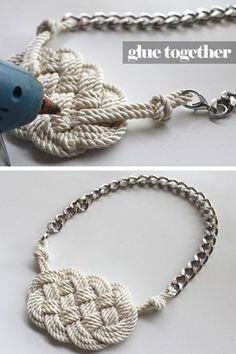 DIY Cream rope necklace - I wish I wasn't so crafting inept.