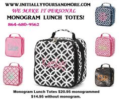 Monogram Lunch Totes choose from Pink Sadie, Black Sadie, Pink Greek Key, Navy Greek Key, Black diamond, Camo and Pink Pin Stripe by…