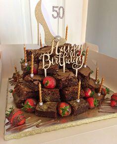 Helen's Birthday Tower of Chocolate Brownies Birthday Brownies, Birthday Cupcakes, 50th Birthday, Birthday Ideas, Cupcake Gift, Cupcake Cakes, Decorated Brownies, Mountain Cake, Cake Tower