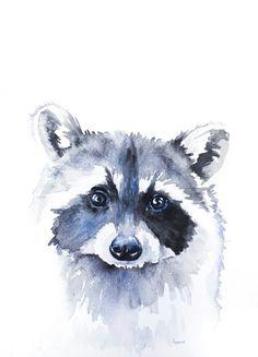 Raccoon Illustration Painting Watercolor Art by RiverLuna on Etsy Animal Paintings, Animal Drawings, Art Drawings, Watercolor Animals, Watercolor Paintings, Watercolour, Painting Inspiration, Art Inspo, Raccoon Art