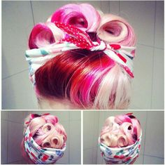 Rockabilly curls and bandana....So adorable! Looks a lot like Th Cherry Dollface from YouTube. I just love old-time beauty. I don't understand how they did it all so well! Were people in the 60s and earlier just born doing gorgeous hairstyles or something??