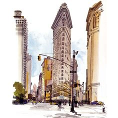 Sketches in watercolour and pencil by Fabrice Moireau Fabrice Moireau is a seasoned traveler who brings back from his journeys sketchbooks which are valuable cultural and ethnographic records in th… Edificio Flatiron, Fabrice Moireau, Flatiron Building, City Illustration, New York Art, Urban Sketchers, Watercolor Paintings, Watercolor Sketchbook, Watercolours