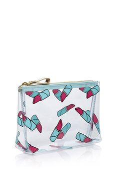 """Carrying your cosmetics has never been cuter or more convenient than with this clear pouch. Its zippered top closure and slight structure keep it functional enough for worry-free toting while its lipstick print makes it just as femme.  Lightweight 100% PVC 5"""" height x 8"""" width x 2.5"""" depth Wipe clean with soap and damp cloth Imported"""
