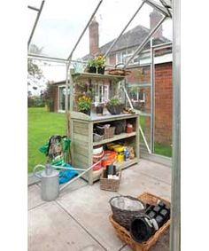 Rowlinson Premier Potting Station: Useful garden workstation / potting bench with plenty of storage and useful hooks for hanging your tools. Greenhouse Tables, Diy Greenhouse, Greenhouse Staging, Potting Station, Sutton Seeds, Pressure Treated Timber, Garden Shelves, Potting Tables, Backyard