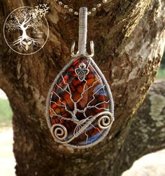 Tree of Life Pendant covering Beautiful Copper and Blue Dragon Vein Agate with Silver Triquetra Charm by TheSleepyFirefly