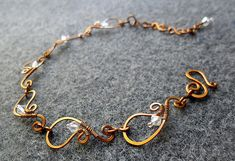 Spring bacelet Copper shapping combined Austrian crystals - copper jewelry - wire jewelry