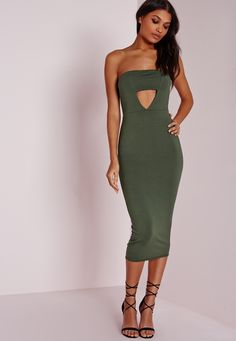 Missguided - Jersey Bandeau Cut Out Midi Dress Khaki
