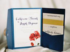 Blue wedding invitation envelop with red florals | Invitations: Carol Hung Makeup Artistry - http://www.stylemepretty.com/portfolio/carol-hung-makeup-artistry Photography: DeFiore Photography - http://www.stylemepretty.com/portfolio/defiore-photography   Read More on SMP: http://www.stylemepretty.com/2015/10/30/classic-winter-church-wedding/