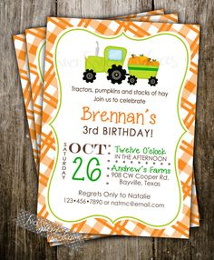 Tractor Pumpkin Patch Invitation Birthday Party Halloween by 2SweetTeas