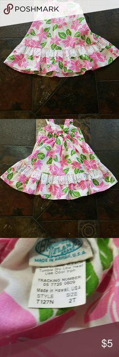 Hawaiian Island Brand Aloha-Print Dress (Girl) Cute Pink, green & white dress made in Hawaii! Size: 2T Hawaiian Island Brand Dresses Casual